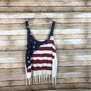 Others Follow • American Flag Tank Top Fringe Hem